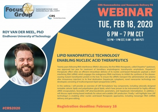 CRS webinar: Lipid Nanoparticle Technology Enabling Nucleic Acid Therapeutics