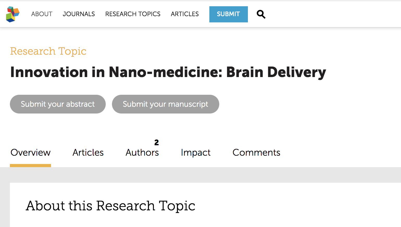 "Submit your article for a special issue on ""Innovation in Nanomedicine: Brain Delivery"""
