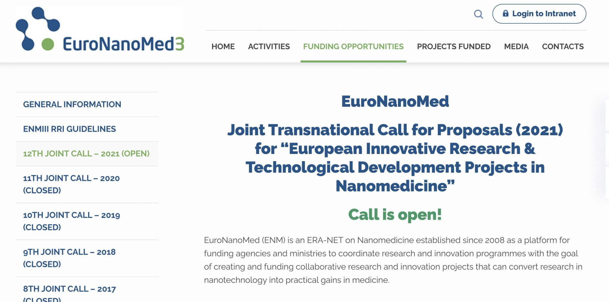 "OPEN! EuroNanoMed Joint Transnational Call for Proposals (2021) for ""European Innovative Research & Technological Development Projects in Nanomedicine"""