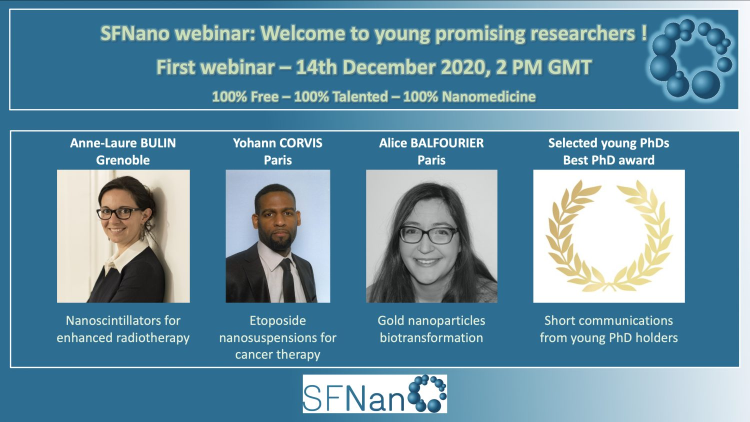 Webinar for young researchers organized by SFNano,  French Society for Nanomedicine